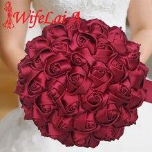 Las flores de boda más baratas, rosa de seda roja, ramos de novia, dama de honor, boda, ramo de flores de satén para boda W223