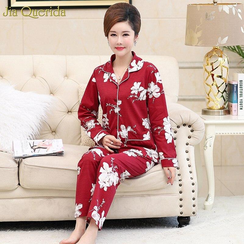Plus Size Long Sleeves Cotton Sleeping Wear Women Home Clothing Red White Flower Printing   Pajamas     Set   New Elegant Ladies   Pajamas