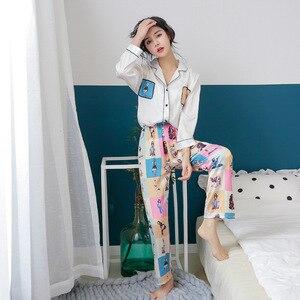 Image 5 - קרח משי פיג מה אישה מתוק יפה לחקות אמיתי משי הלבשת ארוך שרוול מכנסיים צמד סריגי פיג