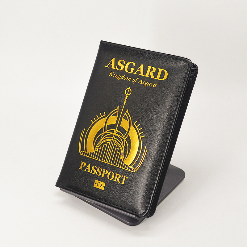 New Asgard Passport Cover Pu Leather Travel Wallet Black Covers For Passports Card Holder Passport Case Women Porta Pasaporte