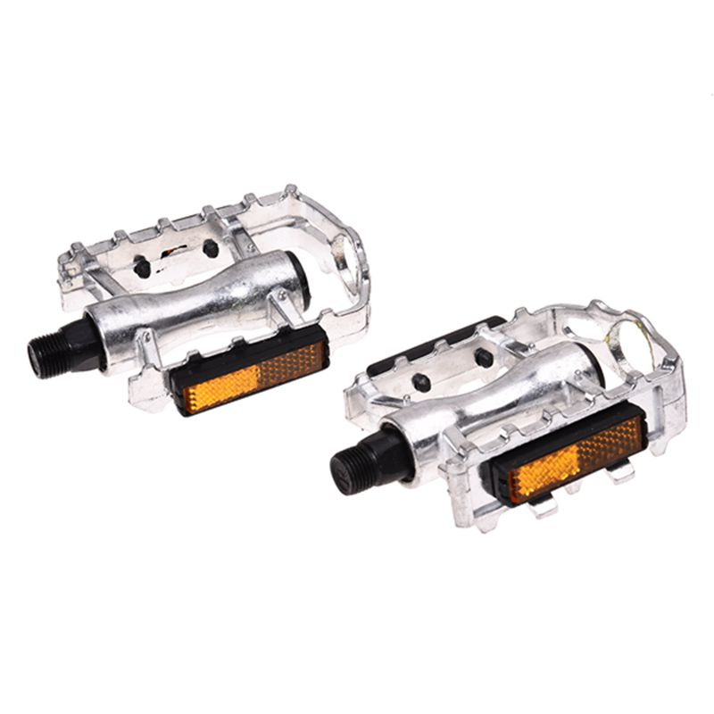 1 Pair MTB Aluminium Alloy Mountain Bike Bicycle Cycling 9 16 quot Pedals Flat Silver in Bicycle Pedal from Sports amp Entertainment