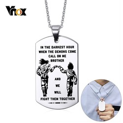 Vnox Free Engraving Stainless Steel Dog Tag Rectangle Pendant Fraternal Necklaces For Men Personalized BFF Necklaces Gift