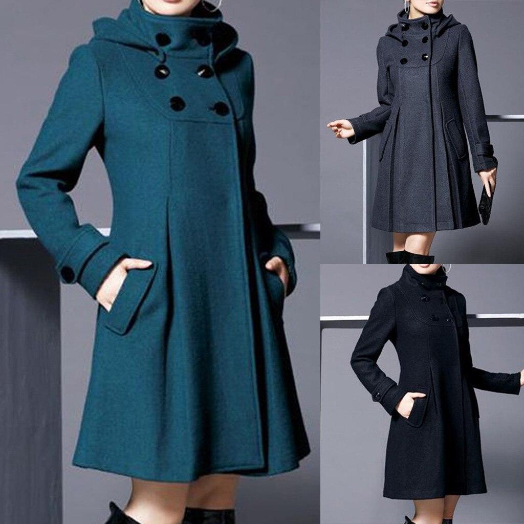 Women Winter Coat Hooded Solid Double-breasted Pockets Long Cloak Windbreaker Coat elegant  Female Outerwear
