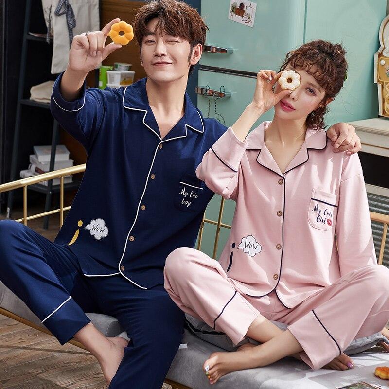 Spring Couple Cardigan Pajamas Set Women and Men Long Sleeve Turn-over Collar Sleepwear Lover Lounge Pijama Plus Size Pyjamas