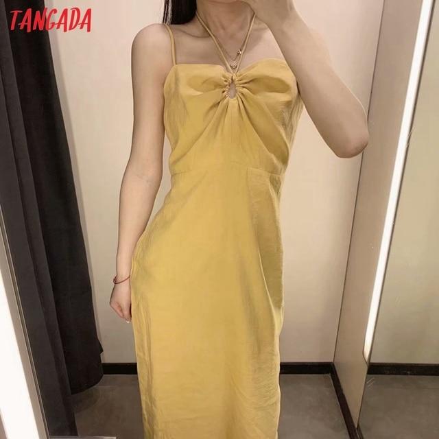 Tangada Women Yellow Sexy Party Dress Sleeveless Backless 2021 Fashion Lady Midi Dresses Robe 3H140 2