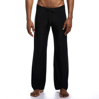 Mens yoga pants elastic waistband fitness training joggers loose lightweight slacks beach fashion casual pants