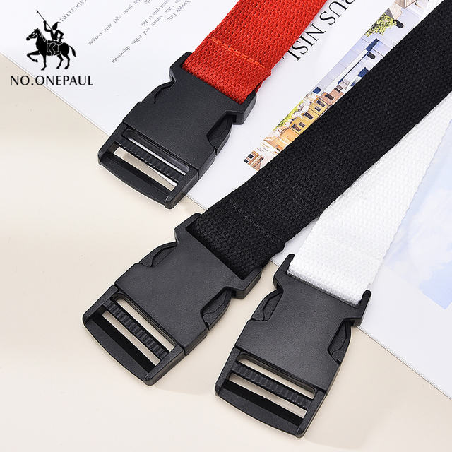 Comfortable solid color cloth with brand luxury buckle new casual outdoor tactical belt 5