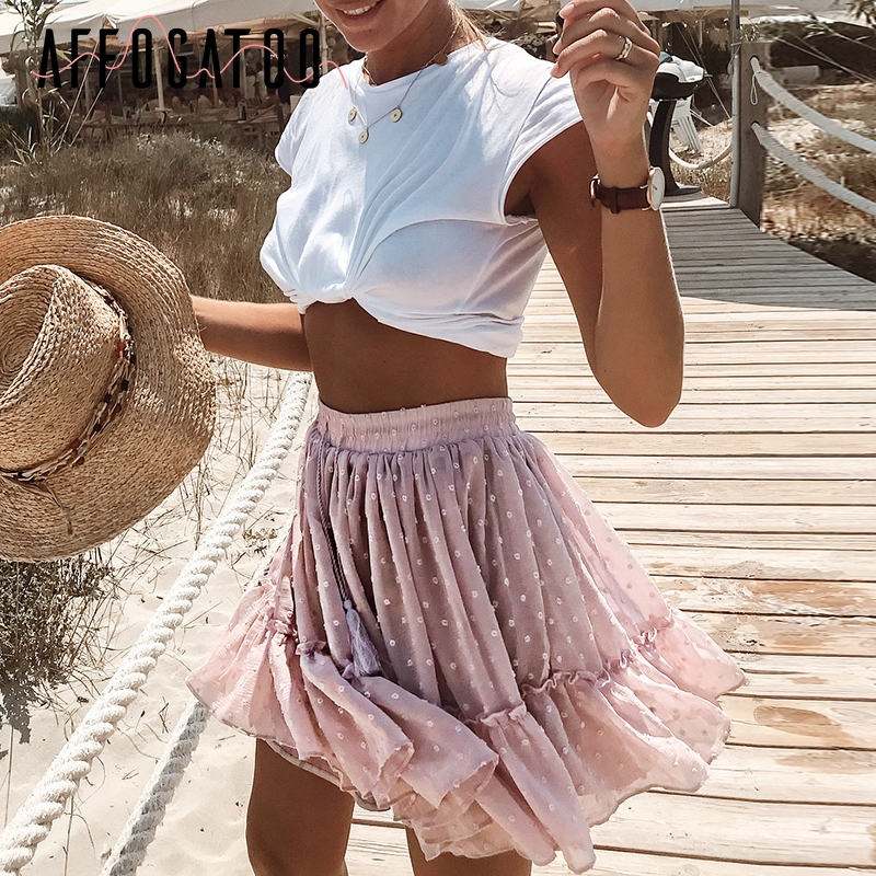 Affogatoo Casual Polka Dot Ruffle Summer Pink Skirt Women A Line High Waist Pleated Short Skirt Floral Print Chiffon Beach Skirt