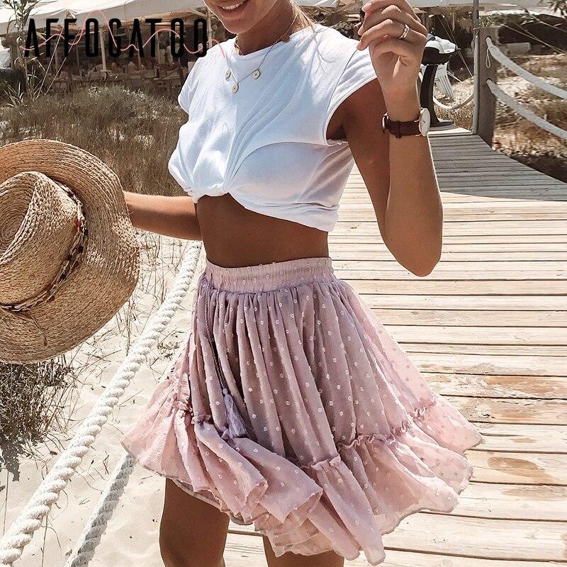 Affogatoo décontracté à pois à volants été rose jupe femmes une ligne taille haute plissée jupe courte imprimé fleuri en mousseline de soie jupe de plage