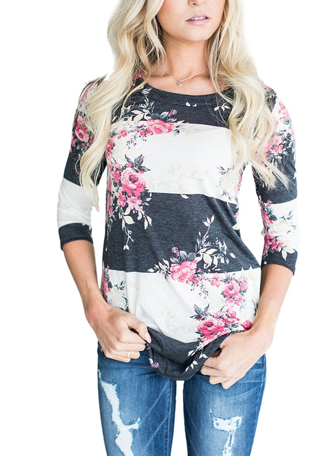 Fashion Casual Long Sleeve Printed Floral Flower T Shirt Women Top Tees Summer T-Shirt Femme Ladies Clothes