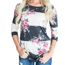 Fashion Casual Long Sleeve Printed Floral Flower T Shirt Women Top Tees Summer T