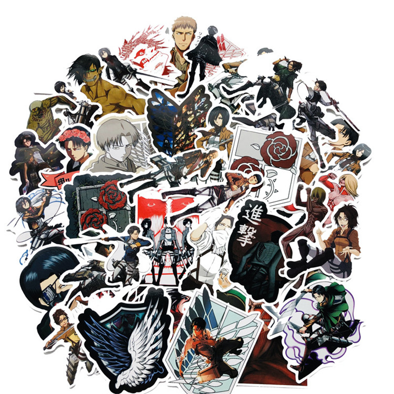 42pcs Anime Attack On Titan Cosplay Scout Regiment Wings Of Liberty Badge Character Stickers Texture Laptop Furniture Stickers