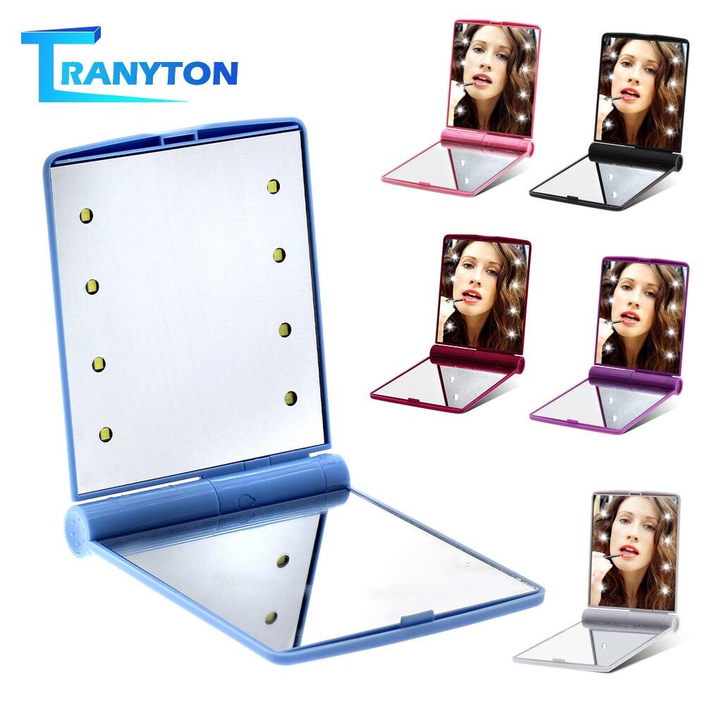 HD Makeup Mirror 8 LEDs Folding Portable Square Cosmetic Pocket Mirrors LED Makeup Mirror For Women Girl Mini Beauty Makeup Tool