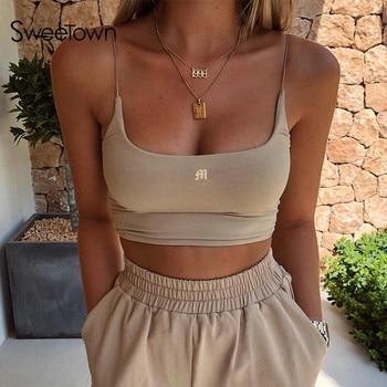 Sweetown Summer 2020 Women Tank Tops Gym Clothing Sleeveless Sexy Fitness Activewear Skinny Slim Bralette Crop Top Streetwear