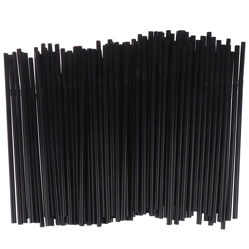 100Pcs שתיית קשיות 210mm שחור לבן ארוך גמיש חתונה ספקי צד פלסטיק שתיית קשיות מטבח אבזרים