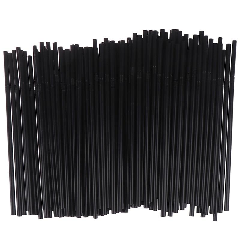 100 шт питьевые соломинки 210 мм черно-белые длинные гибкие товары для свадебной вечеринки пластиковые соломинки для питья кухонные принадлеж...