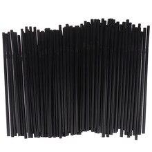 Pailles à boire flexibles, 100 pièces, 210mm, noir et blanc, longue, pour fête de mariage, pailles à boire en plastique, accessoires de cuisine