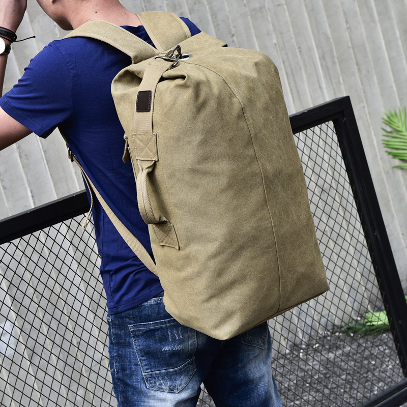 Men's Brand Canvas Backpack Large Capacity Mountaineering Backbag Tactical Military Bucket Back Bag Male Casual Travel Bag Pack