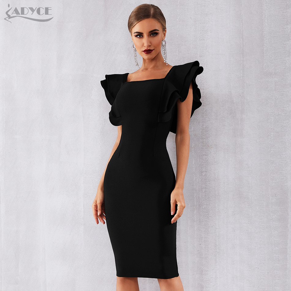 Adyce 2020 New Summer Women Black Bodycon Bandage Dress Vestido Sexy Ruffles Butterfly Sleeve Club  Celebrity Runway Party Dress