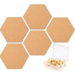 5 упаковок шестигранной пробковой доски плитки с полной липкой задней частью, мини-ПИН-доска с 40Х нажимными булавками для фотографий, рисова...