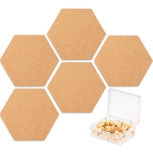 Купить с кэшбэком 5 Pack Hexagon Cork Board Tiles with Full Sticky Back,Mini Pin Board with 40x Push Pins for Pictures, Photos, Drawing
