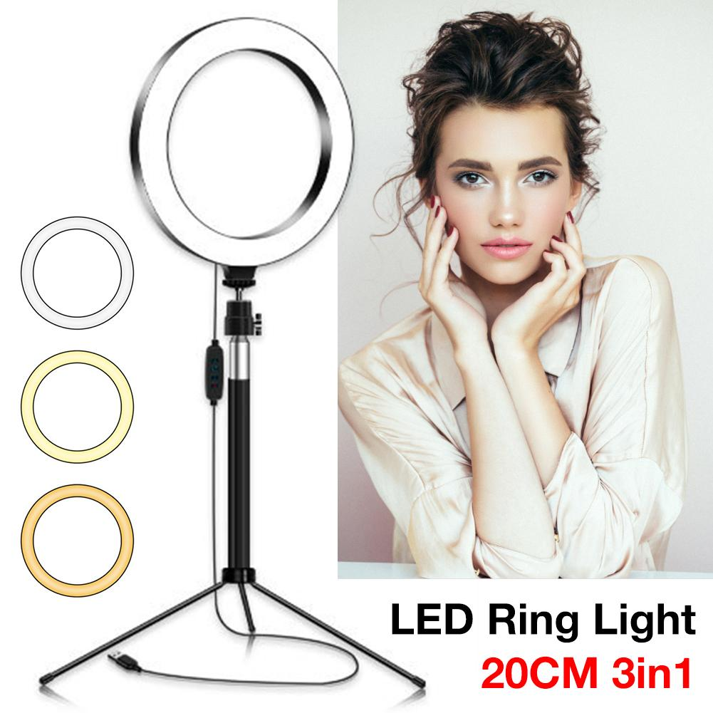 USB Dimmable Selfie LED Ring Light With Phone Holder Selfie Stick Tripod Stand Detachable Portable Beauty Makeup Fill Lamp