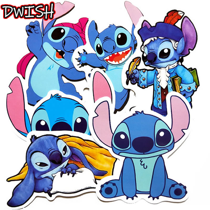 6pcs/Pack Cartoon Stitch Anime Stickers Waterproof Guitar Skateboard Suitcase Scrapbooking Girl Funny Graffiti Sticker Kids Toy
