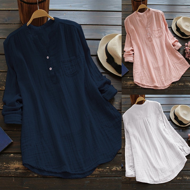 WEPBEL Women V Neck Rolled-Up Long Sleeve Tops Buttons   Shirt     Blouse   Solid Color