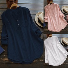 WEPBEL Women V Neck Rolled-Up Long Sleeve Tops Buttons Shirt Blouse