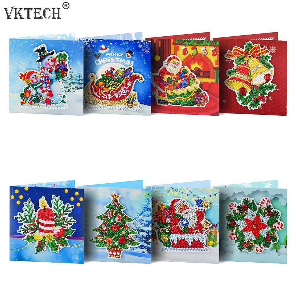 8 шт. DIY Алмазная картина поздравительная открытка мозаика Санта-Клаус рождественские открытки Рождественский комплект с вышивкой подарок ...