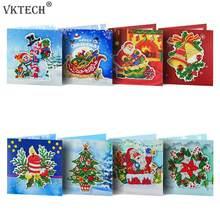 8 pçs diy pintura de diamante cartão mosaico papai noel natal cartões postais kit bordado aniversário festival presente