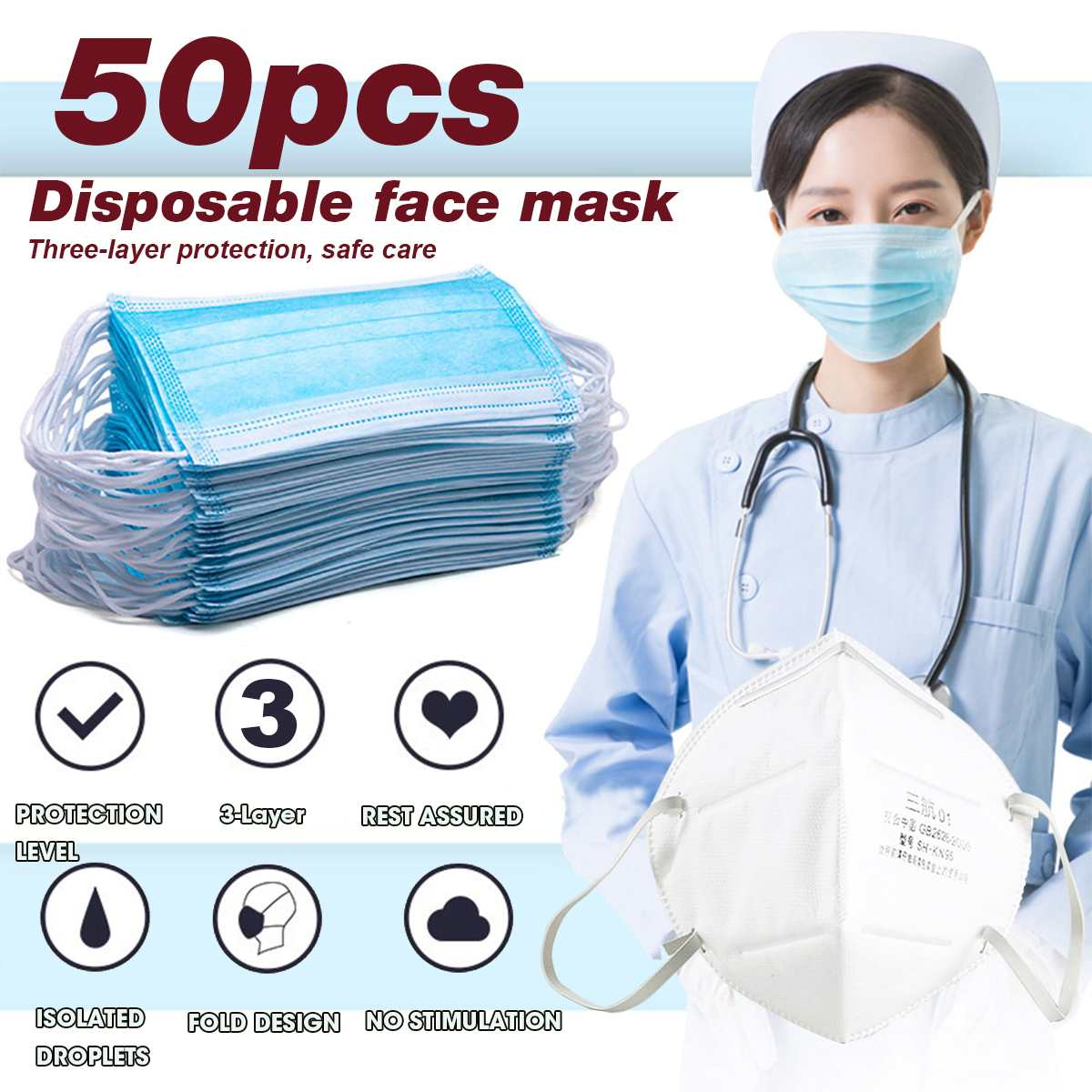 2pcs/50pcs Disposable Mask Mouth Face Mask N95 95% Non-woven Fabric Protective Mask Anti-Dust 3-layer Filtration Against Droplet