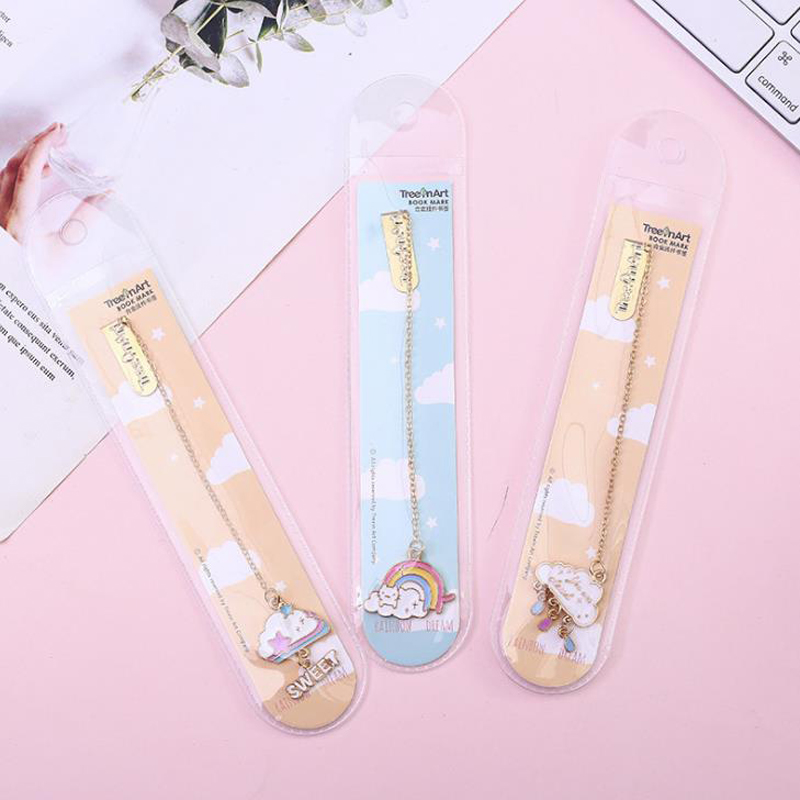 1 Pcs Sweet Rainbow Cloud Dream Pendant Metal Bookmarks Page Clip Holder Stationery School Office Supply Escolar Papelaria
