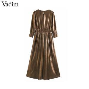 Image 2 - Vadim נשים מוצק בסיסי midi שמלת שלוש רובע שרוול נקבה מקרית ללבוש אופנתי שיק קו שמלות vestidos QD137