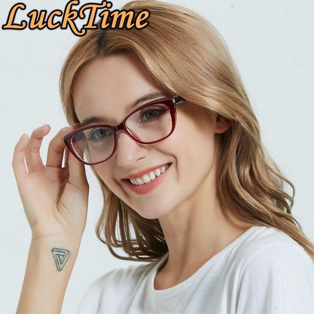 LuckTime موضة صغيرة الماس نظارات إطار الرجعية مربع امرأة قصر النظر نظارات إطار محظوظ الوقت وصفة طبية إطارات النظارات 1795