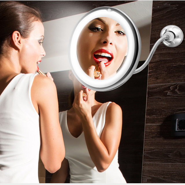 10X LED Mirror Makeup Mirror Flexible Mirror illuminated Magnifying Vanity Mirrors with Light Make up Miroir Bathroom Mirrors 5