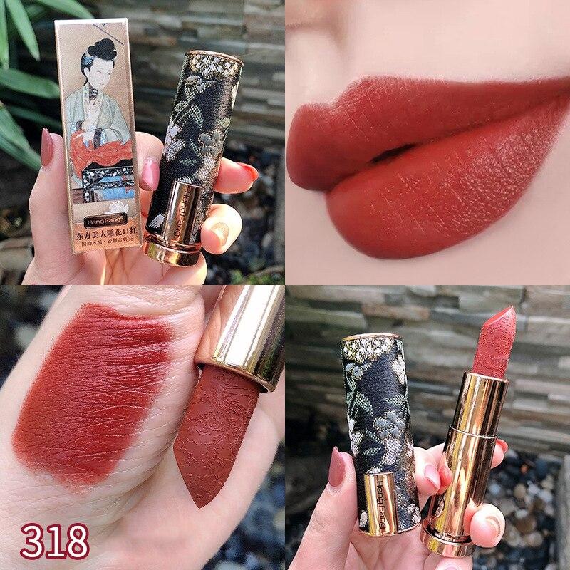 6 farben Klassische Schönheit Vintage Samt Matte Lippenstift Pigmentierte Wasserdicht Lasting Lippe Make-Up Seidige Charming Lippenstift TSLM1