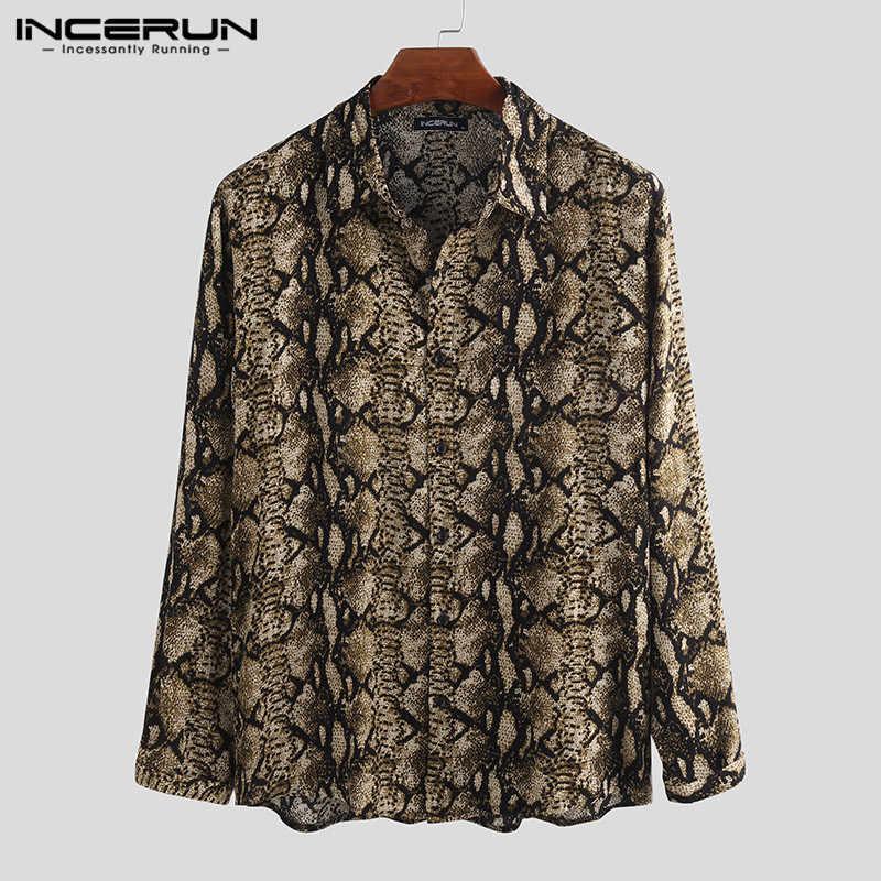 Incerun ファッション男性プリントシャツ長袖ストリートラペルボタン人格男性シャツカジュアルブランド高品質トップス 2020