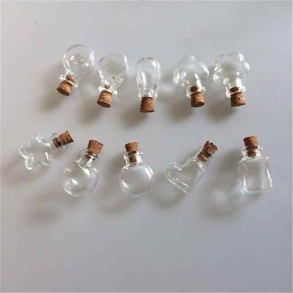 Mini garrafas de cortiça de vidro pingentes diy colar garrafas pingente para o presente do casamento frascos frasco moda jóias 10 pçs frete grátis