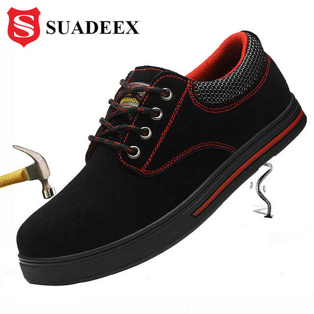 SUADEEX Mens Safety Shoes Steel Toe Construction Protective Footwear Lightweight Shockproof Work Sneaker Shoes For Men Women