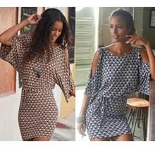 Женское летнее платье без рукавов, свободное короткое платье с винтажным принтом и низкой талией