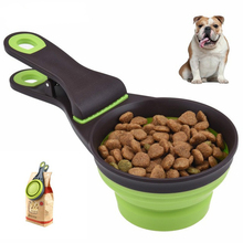 Multifunctional Pet Dog Bowl Portable Folding Food Containers 2 IN 1 Puppy Feeder Bag Sealing Clips Feeding Supplies