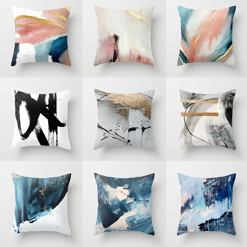 45*45CM Pillow Case New Abstract Oil Painting Series Printing Pillowcase Square Decorative Pillowcase