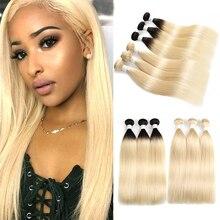 613 блонд, бразильские прямые человеческие пряди, 1 шт., медовый блонд, натуральные кудрявые пучки волос, SOKU, Remy человеческие волосы, ткачество
