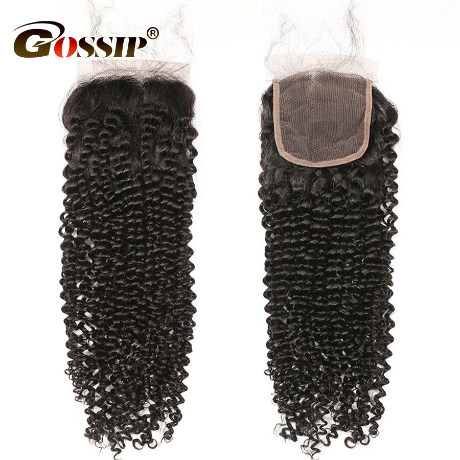 Gossip Hair Brazilian Remy Hair Weave Bundles Afro Kinky Curly Hair 4x4 Lace Closure Free Part Lace Closure Human Hair Closures