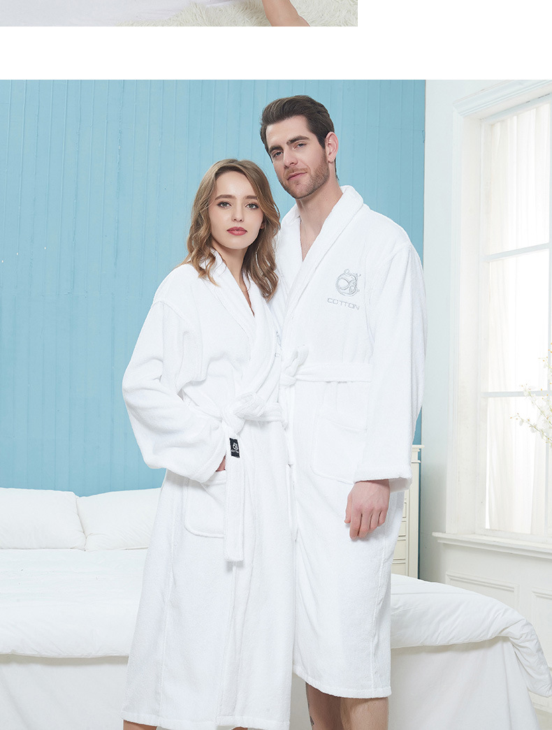 Thicken Men Women Bath Robe Winter Warm 100%Cotton Towel Bathrobe Male Home Hotel Nightgown Kimono Dressing Gown Wedding Gift