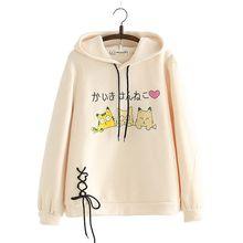 Женский Забавный вельветовый свитер с капюшоном и рисунком кошки