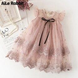 2019 outono meninas vestidos casuais moda vestido de princesa flores marca qualidade rosa laço vestido de festa de casamento