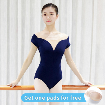 Ballet Leotards for Girls Women Sexy Neckline Cotton Soft Mesh Black White Gymnastics Leotard Dancing Costumes - discount item  25% OFF Stage & Dance Wear