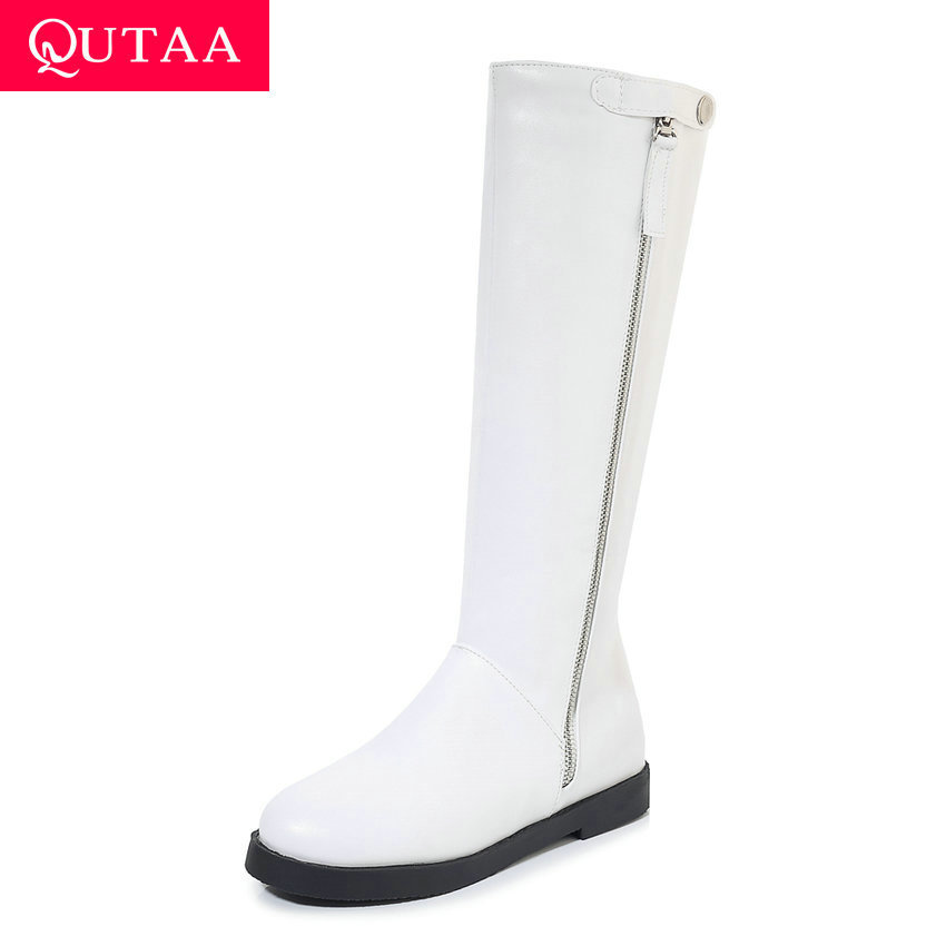 QUTAA 2020 Square Heel Round Toe All Match Women Shoes Flock PU Leather Fashion Zipper Autumn Winter Knee High Boots Size 34-43